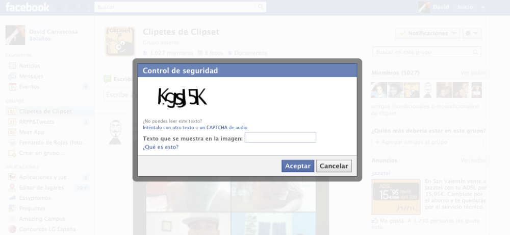 Captcha Facebook en grupo